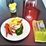 Deconstructed Lasagna Special with Arugula Pesto & Roasted Carrots