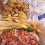 Lunch time delight, full clams and wicked lobster roll, plus a side of clam chowder!