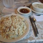 Brewis, scrunchions and seafood chowder
