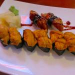 Sea Urchin and Grilled Eel Sushi