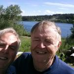 My father and i enjoying the marvelous view of the lake. .....well ok. .seems we were facing the