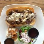 Beef Dip with Aux Juice and 2 sides $15