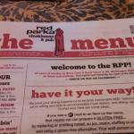 The Red Parka menu was printed like a news paper. Many choices from apps to full dinner entres.