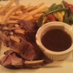 Rack of lamb.  With fries and vegetable. Excellent. Cooked to perfection.  Tender and lots of fl