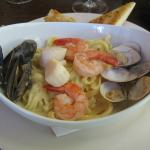 Tasty mixed seafood pasta!