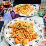 Spaghetti aux St Jacques et langoustine  Trio de fruits de mer (gambas, St Jacques, langoustine