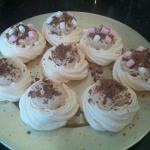 butterscoth and flae cream topped meringues
