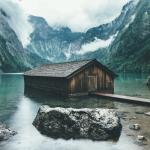 Boathouse on the shore of the Obersee