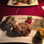 Sirloin steak and veal with creme fraiche.