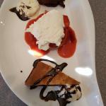 Trio of desserts- strawberry shortcake, chocolate cake, and capucinno brownie with ice cream