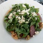Arugula Salad with poached pears and candied walnuts, gorgonzola