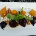 Beet salad with chevre, mache and candied walnuts