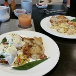 Crab Cake Benedict and Maine Lobster Scramble