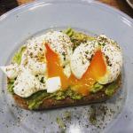 Delicious poached eggs, Avocado and Feta on toasted Sourdough