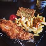 Medium haddock, less than half a portion of chips & awesome pea fritter!