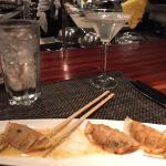 Lobster potstickers and martini