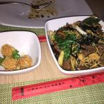 Shrimp balls and Yakisoba noodles