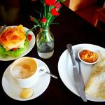Breakfast Burrito, Hamburger, and Cappuccino