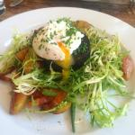 Black pudding, poached egg and bacon salad
