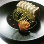 tarte citron Yuzu sur sablé sésame et sorbet maison orange sanguine