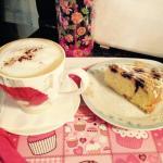 Large Cappuccino & Homemade Lemon & Blueberry Cake!!!YUM