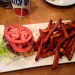 burger (no bun) with side of sweet potato fries