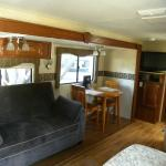 Sofa and table in rental RV