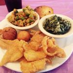 Fried Catfish Lunch w/Fried Okra, Turnip Greens, Corn Bread and Hush Puppies
