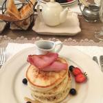 Delicious Pancakes with bacon and maple syrup