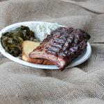 Archers BBQ Half Rack Plate w/ collards and potato salad