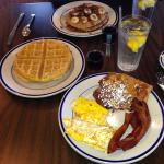 Classic Breakfast: 2 Eggs, Bacon & French Toast Side: Waffle, and Fruit N Nut Multigrain Sweet &