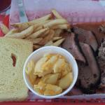 2 meat combo- Pulled pork, brisket, fries, homemade macaroni and cheese