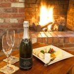 Intimate dining in front of open fire