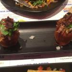 Sweet potato and sticky pork Sopes