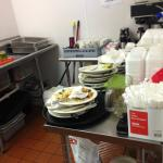 Dirty dishes piled up in the area next to our room. Wait staff didn't even come clean them, we d