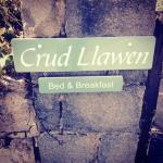 Lovely welcome sign to Crud Llawen B&B