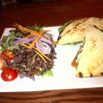 Chicken Nan Sandwich with peach chutney and goat cheese