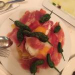Grilled vegetables and jamon Iberico ,peppers, eggs and potatoes