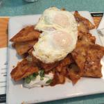 Chilaquiles, banana & pecan French toast, and waffle dog. Omg delicious.