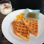 Waffles on the menu with mango