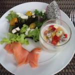 Buffet Salmon, sald with ceaser dressing and yoghurt w/ fruit