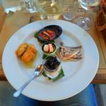 Appetizer with 5 different fish tastings