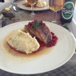 Herring with ligonberries & potatoes anchovies puree