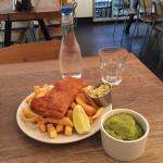 £5 Pollock/Coley & chips. With extra mushy peas
