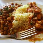 Chana masala and curry chicken lunch special