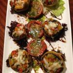 Champiñones Gratinados (Parmesan Gratin of Mushrooms stuffed with Seasonal Vegetables and Prawns