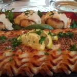 Encrusted whitefish and crab cake appetizers