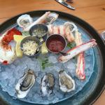 The half-portion of Cindy's shellfish platter. Very tasty assortment with fresh horseradish and