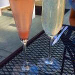 Strawberry champagne and gin champagne cocktails