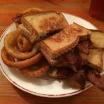 grilled cheese with bacon and onion rings